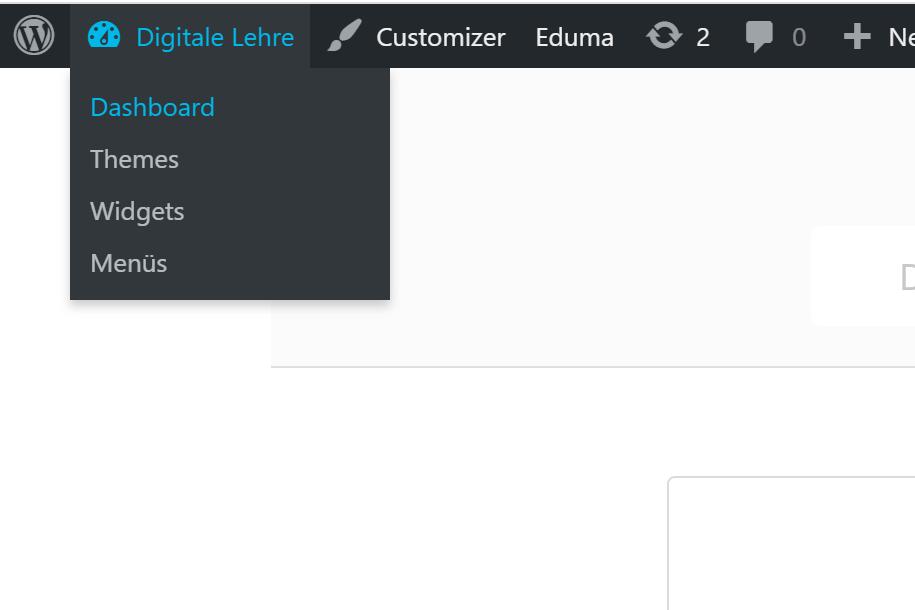 """Klickweg zum Dashboard über Button """"Digitale Lehre"""""""