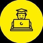 Lernmodulicon: Student sitzt hinter einem Laptop