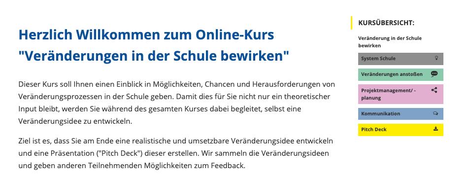 Beispiel für Kursnavigation im Online-Kurs